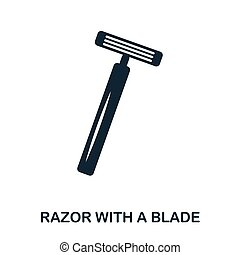 Razor With A Blade icon. Flat style icon design. UI. Illustration of razor with a blade icon. Pictogram isolated on white. Ready to use in web design, apps, software, print.