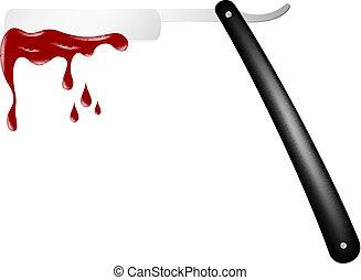 Razor with blood isolated on white background
