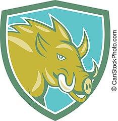 Razorback Head Charge Shield Cartoon