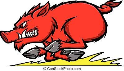 Razorback Run - A cartoon illustration of a Razorback Mascot...