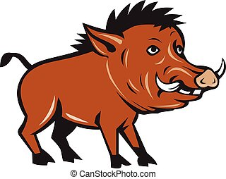 Razorback Side Cartoon - Illustration of a wild pig boar...