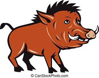 Razorback Side Cartoon - Illustration of a wild pig boar...