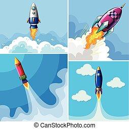 razzi, volare, in, il, cielo blu