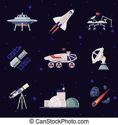 razzo, concetto, oggetti, set, satellite, industria, ...