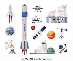 razzo, oggetti, set, navetta, satellite, industria, ...