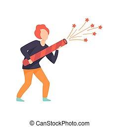 razzo, persone, grande, fireworks, giovane, illustrazione, festeggiare, vettore, fondo, bianco, vacanza, cominciando, uomo