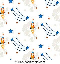 razzo, spazio, pattern., seamless, vettore, cartone animato