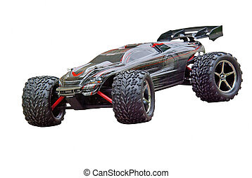 RC sport car - Radio controlled sport car isolated on a...