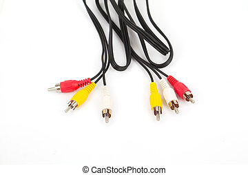RCA plugs and cable on white