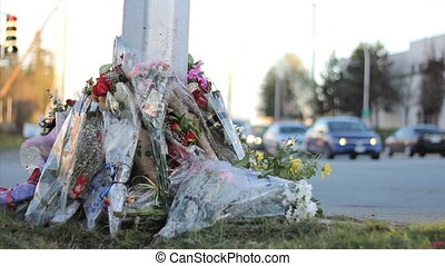 RCMP Officer Roadside Memorial - A roadside memorial marks...
