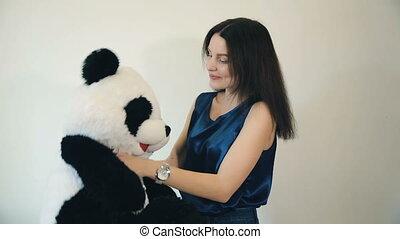 reçu, femme, ours, teddy
