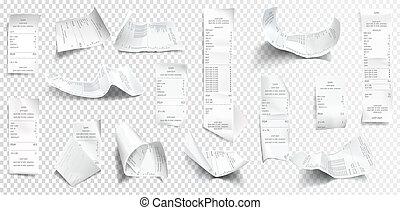 reçu, ou, chèque, collection, réaliste, note