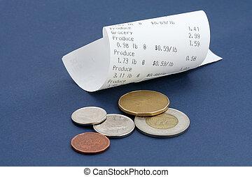 reçu, registre, dollar, espèces, canadien