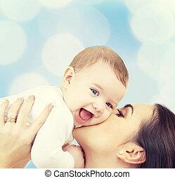 reír, bebé, juego, con, madre