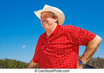 reír, maduro, vaquero