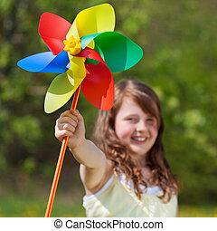 reír, niña, tenencia, colorido, molino de viento