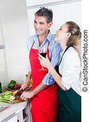 reír, pareja, cocina, en, cocina