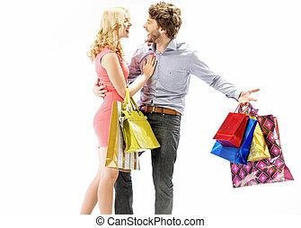 reír, pareja, el gozar, el, compras