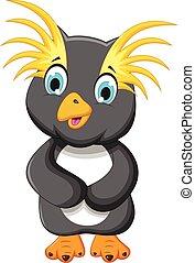 re, carino, proposta, cartone animato, pinguino