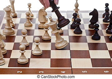 re, colpire, gioco, nero, scacchi, bianco