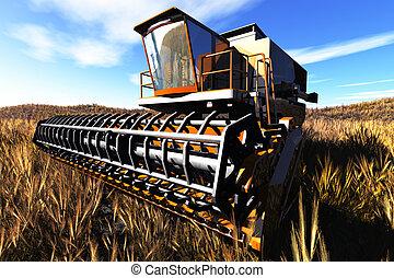 re, concepto, agricultura, segador, 3d