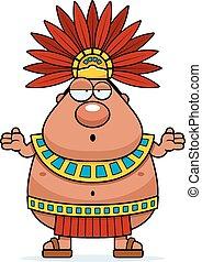 re, confuso, azteco, cartone animato