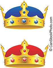 re, corona, con, gemme, e, embellishments