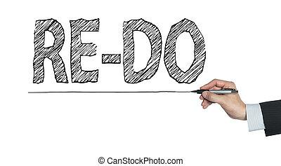 re-do, geschreven, hand