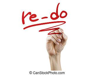 re-do, parola, scritto, mano