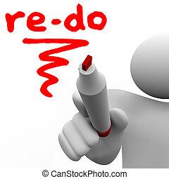 re-do, woord, geschreven, plank, teken, redo, veranderen, man