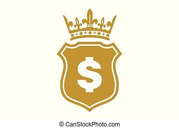 re, dollaro, scudo, oro, logotipo
