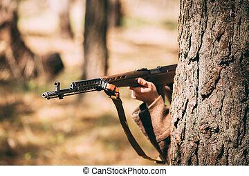 Russian Soviet Infantry Soldier Of World War II Hidden With...
