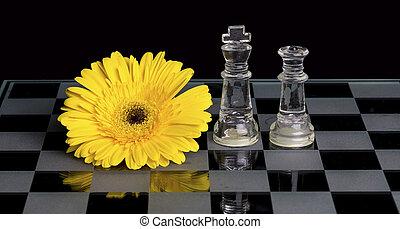 re, fiore, regina, giallo, vetro, nero, scacchi, cartoncino bianco