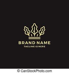re, foglia, quercia, corona, illustrazione, vettore, sagoma, logotipo, icona