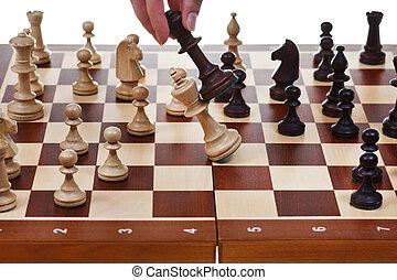 re, gioco, nero, scacchi, bianco, gocce