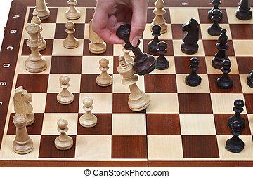 re, gioco, nero, scacchi, bussate, bianco