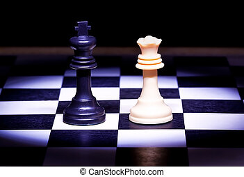 re, gioco, regina, pezzi gioco scacchi