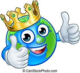 re, globo, carattere, terra, mondo, cartone animato, mascotte