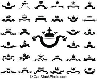 re, grafico, set, silhouette, regina, corona, isolato, vettore, fondo, eps10, nastro bianco, icona