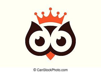 re, gufo, astratto, vettore, logotipo, icona