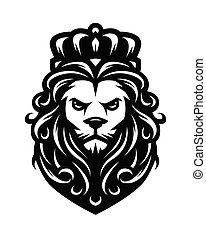 re, illustration., vendemmia, leone, vettore, style.