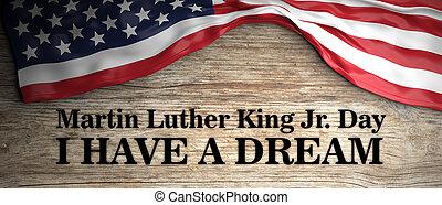 re, luther, stati uniti, legno, testo, quote., giorno, illustrazione, fondo., bandiera, jr, possedere, martin, sogno, 3d