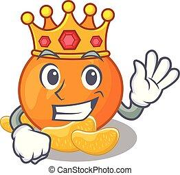 re, mandarino, isolato, cartone animato