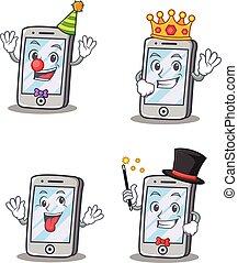 re, matto, set, carattere, pagliaccio, iphone, mago