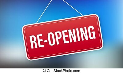 Re opening hanging sign on white background. Sign for door. Stock illustration