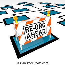 Re-Org Ahead Words on Barricade Org Chart - A barricade with...