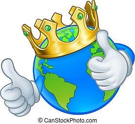 re, oro, globo, corona, terra, mondo, cartone animato, mascotte