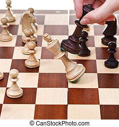re, overturns, gioco, nero, scacchi, bianco