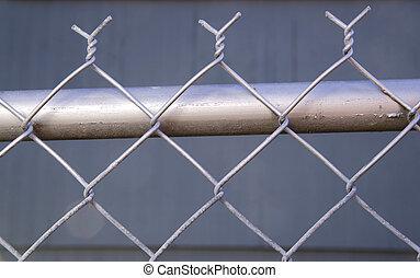 re-painted, alambre, cadena, cerca, cima, metal, enlace,...