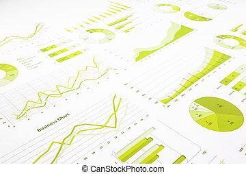 re, praca badawcza, wykresy, wykresy, handel, handlowy, zielony, roczny